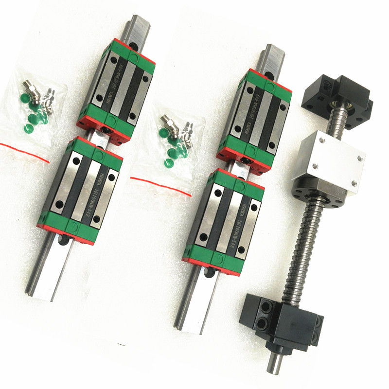 2pc HGR20 HGH20 Square Linear Guide Rail 400mm Slide Block Carriages HGH20CA 1pcs SFU1605 450mm CNC