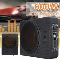 600 Вт 10 дюймов ультра тонкий автомобильный сабвуфер усилитель авто автомобиль Активный супер бас Lound Динамик под сиденьем аудио сабвуферы