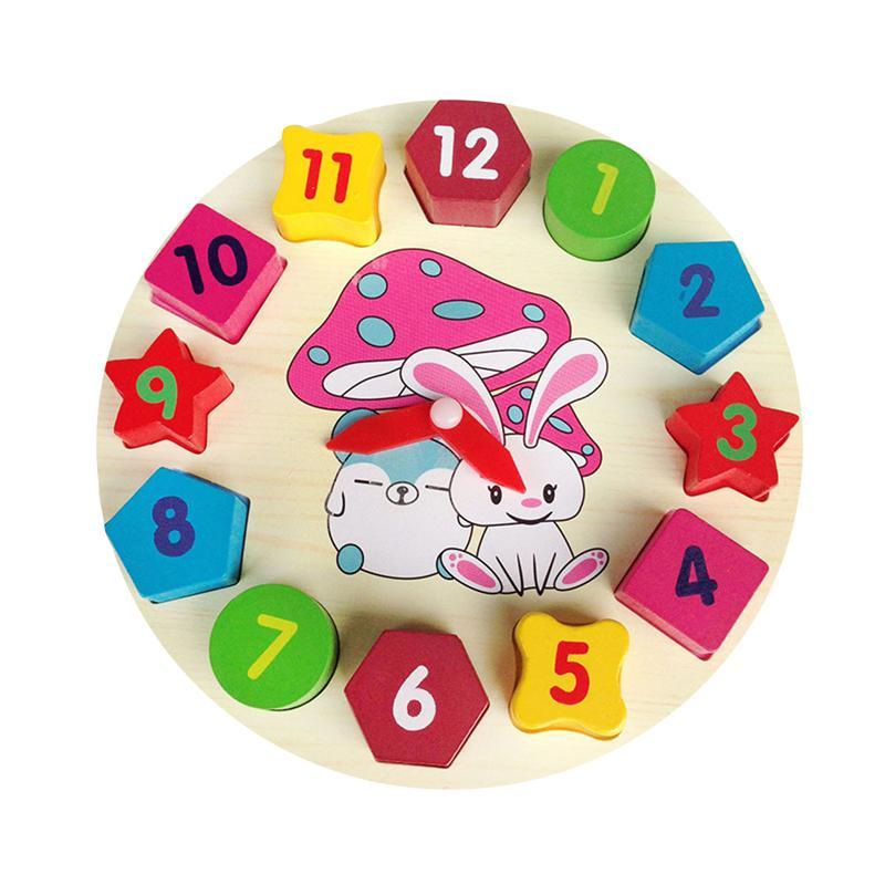 1 Pc Sortierung Uhr Montage Bunte Kaninchen Muster Holz Zeit Lernen Uhren Pädagogisches Spielzeug Nummer Blöcke Für Mädchen Dauerhafte Modellierung