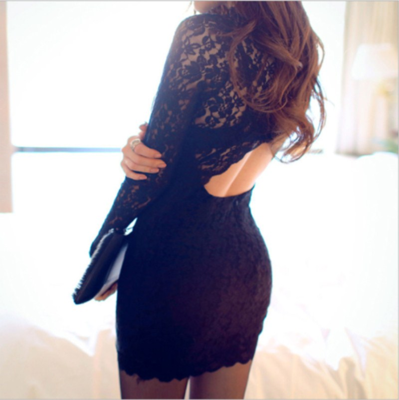 Women Lace Long Sleeve Evening Party Ball Prom Gown Formal Club Mini Short Dress Black Color Innrech Market.com