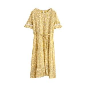 Image 5 - Женское платье с коротким рукавом, кружевное, с О образным вырезом и цветочным принтом, inman