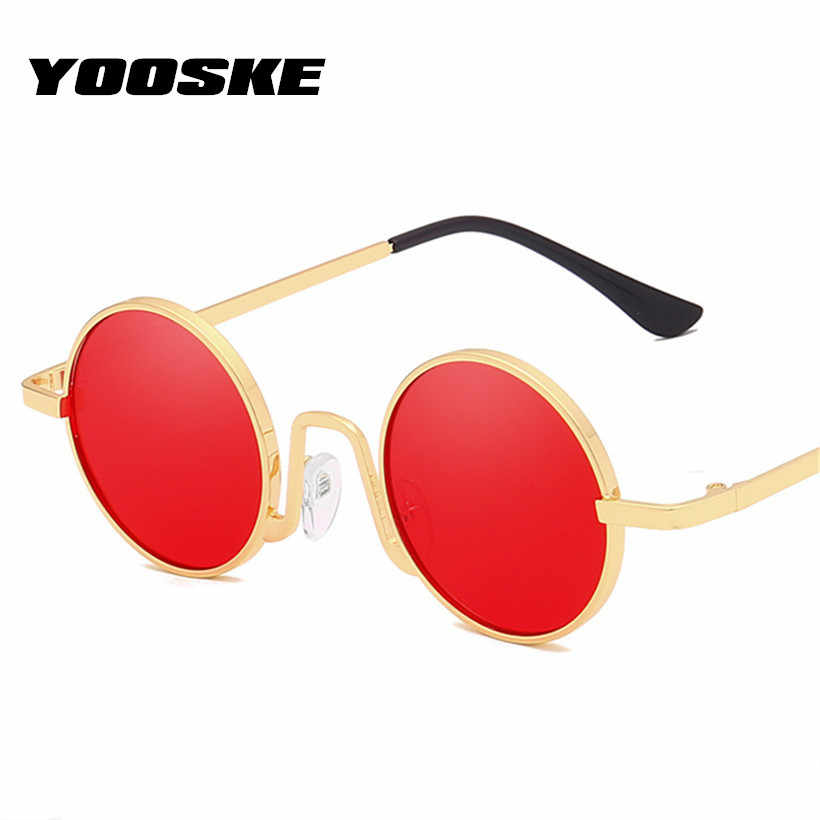 7d04f91445db YOOSKE Retro Round Sunglasses Men Women for Vintage Brand Designer Small Metal  Shades Sun Glasses Hip