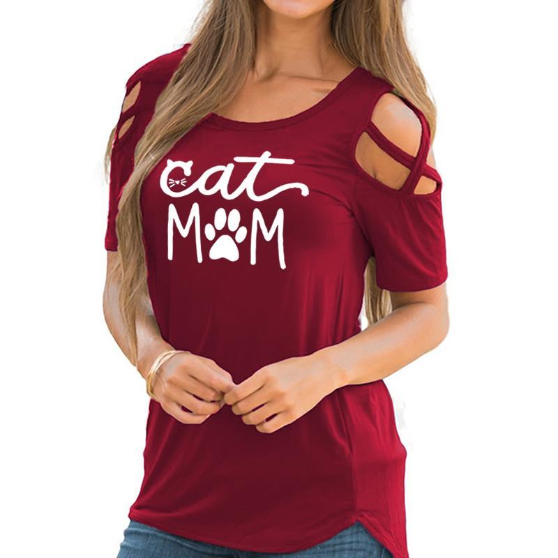 fe77f1b0 2019 New Fashion Cat Mom Print Harajuku T-Shirt Women Tops Kawaii Off  Shoulder Short