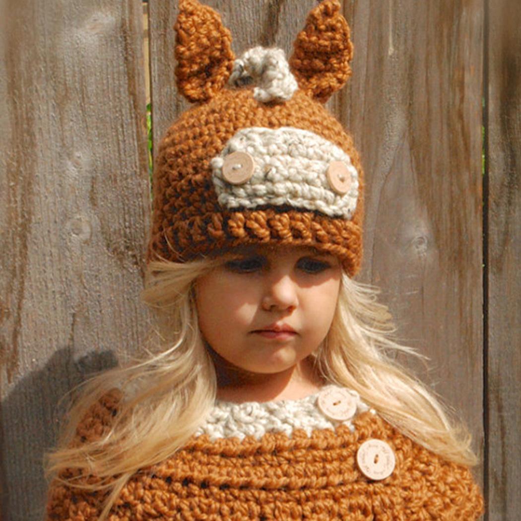 Nett Unisex Kinder Mode Winter Warm Nette Gestrickte Taste 2-8years Casual Grau, Orange Patch Schal Kappe