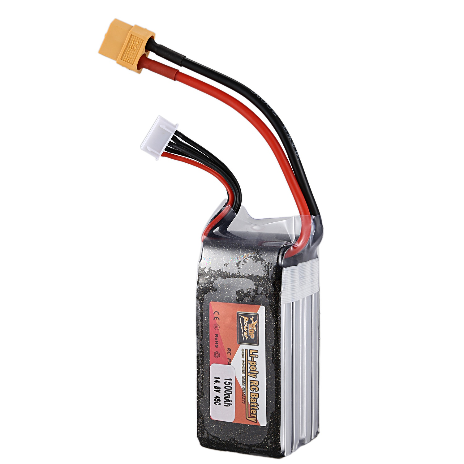 Zop Power 14.8V 1500Mah 45C 4S 1P Lipo Battery T Plug Rechargeable For Rc Racing Drone Quadcopter Helicopter Car Boat