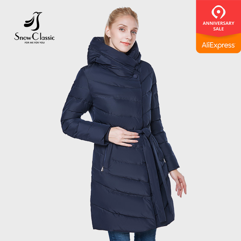 SnowClassic 2018 European style coat fashion warm belt tight mouth sleeve jacket cotton clothing down jacket