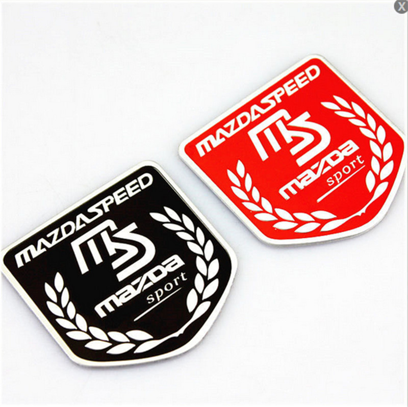 1Pcs Shield MS Emblem Mark Trunk Car Fit For Mazdaspeed Lid Sticker Vip Side Badge