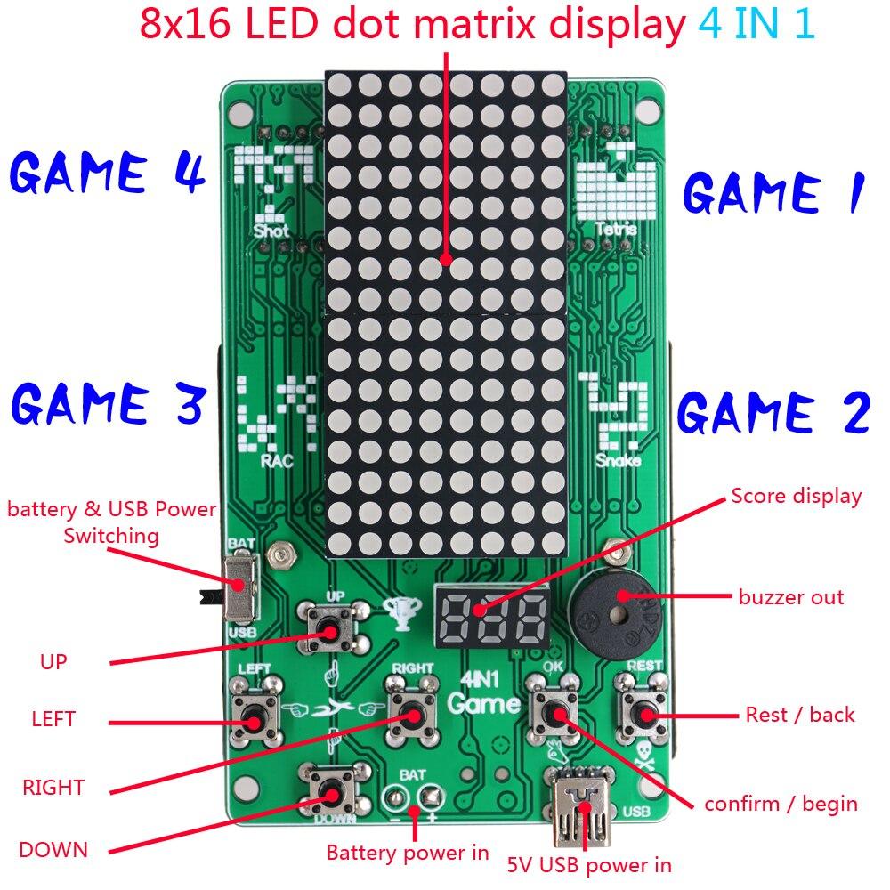 Преимущество оптовая торговля электронный DIY набор 8x16 матричный игровой автомат для тетрис/змея/выстрел/Гонки Diy Набор электронный - 3