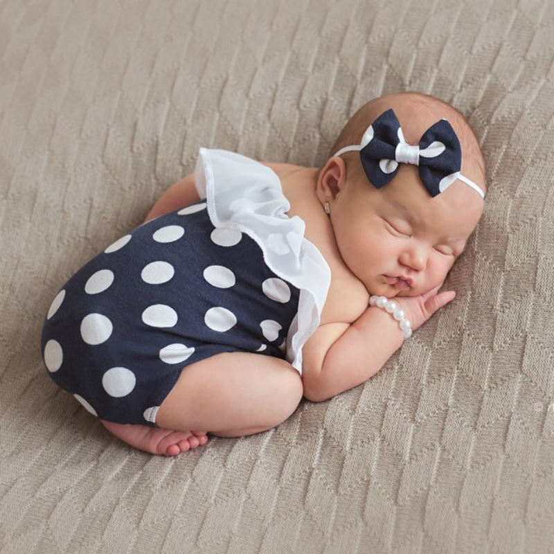 Newborn Photography Props Accessories Baby Polka Dot Romper Headband Pearl Bracelet Baby Girl Clothes Set Studio Baby Photo Prop