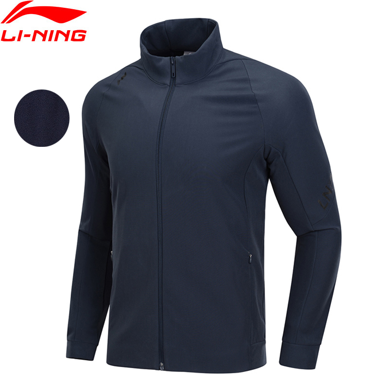 Li Ning Men Training Series Jacket 3D Fitting Slim Fit Fleece Warm 91 Polyester 9 Spandex