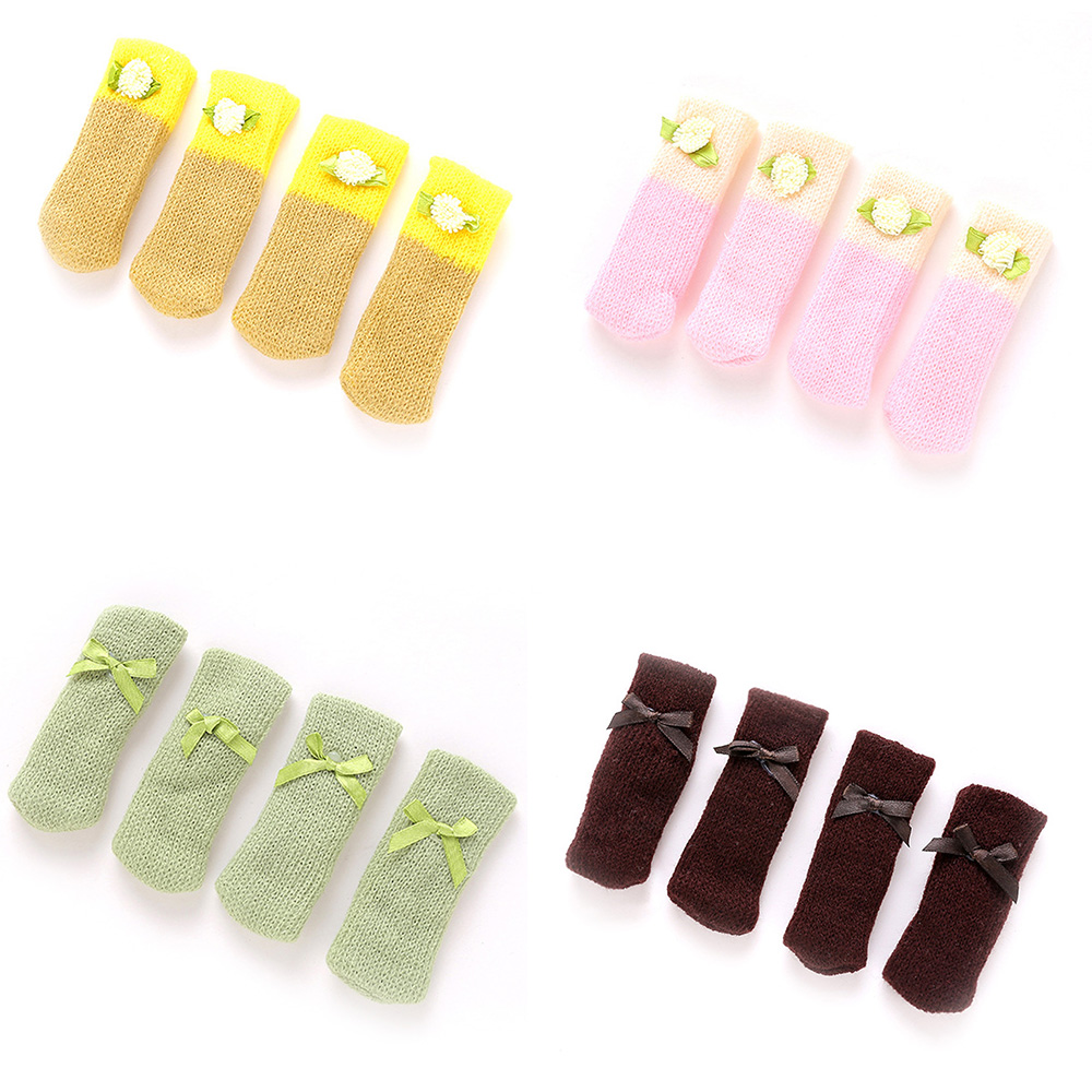 4pcs Knitting Cat Style Chair Leg Socks Floor Protectors For Furniture Legs Non-slip Table Legs Prevent Pet Dog Cat Scratching