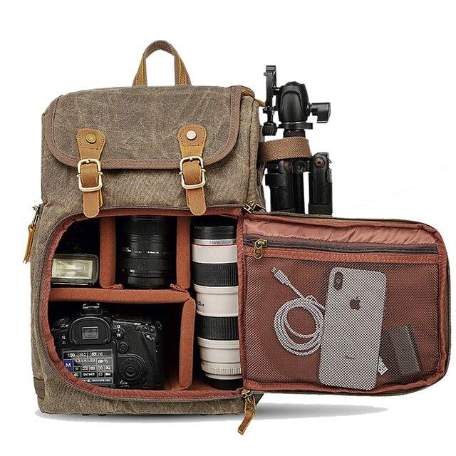 Batik kamera çantası tuval kamera sırt çantası su geçirmez çok fonksiyonlu açık aşınmaya dayanıklı kamera sırt çantası Canon/Sony/ nikon