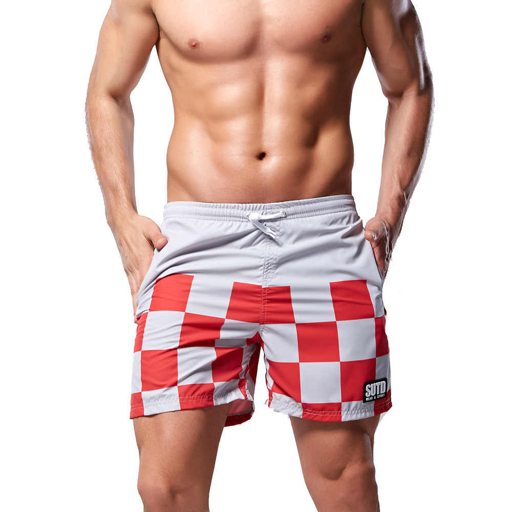 2019 Mannen Badmode Zwemmen Shorts Voor Sexy Heren Zwembroek Plaid Snel Droog Badpak Surf Boxer Beach Shorts Badpak sunga
