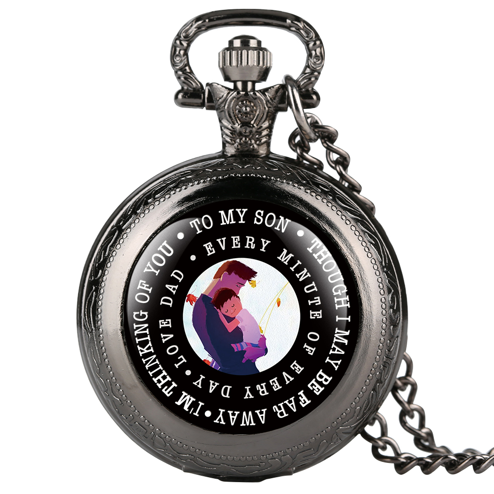 Classic Quartz Pocket Watch For Son Love Dad Series Pocket Watches With Cartoon Figure For Boy Full Cover Pendant Watch Gift