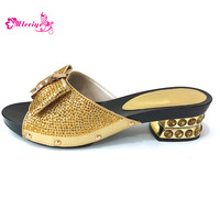 Latest Summer Gold Shoes Women Nigerian Party Shoes Decorated with Rhinestone Woman Shoes Summer Pumps Italy Elegant Party Shoe