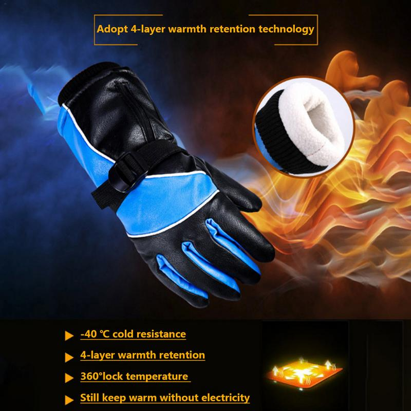 Windproof Rainproof Breathable Thickened Electric Thermal Gloves Rechargeable Battery Heated Gloves Motorcycle Electric Vehicle
