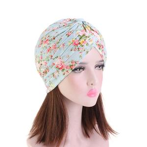 Image 5 - Indian Turban Muslim Women Floral Printed Hat Cancer Chemo Cap Islamic Hair Loss Cover Beanie Bonnet Head Scarf Pleated Caps Hat