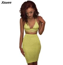 Xnxee Sexy Shiny Bandage Bodycon Dresses 2019 Summer Lace Up Two Piece Party Dresses Deep V Neck Skinny Club Outfits Vestidos golden shiny strappy two piece outfits