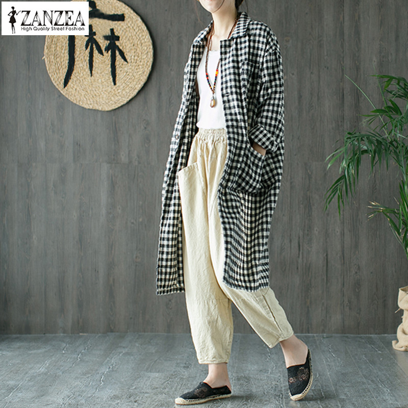 2018 ZANZEA Women Casual Lapel Neck Retro Plaid Checked Coat Long Sleeve Loose Long Jackets Autumn Outwear Vintage Work Cardigan