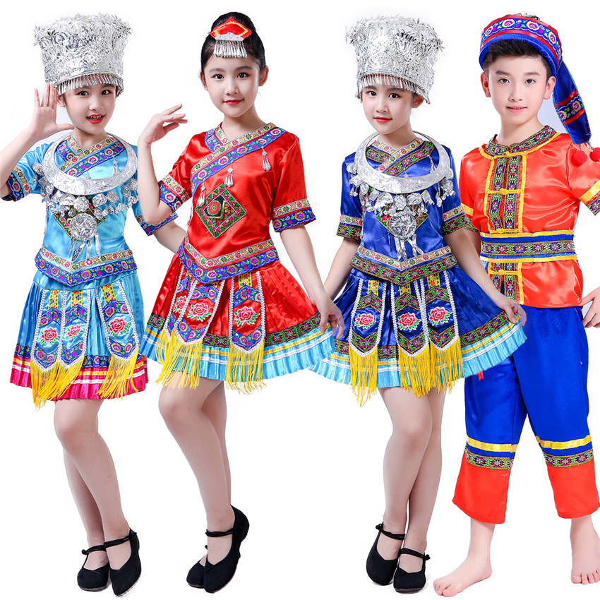 110-160CM Kids Traditional Chinese Singer Dai Dancer Stage Costumes for Singer Performance Girl Cltohing Peacock Festival Outfit