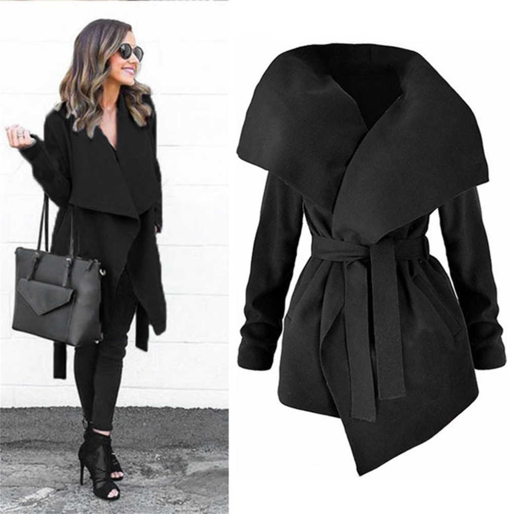 Winter Coats Women Autumn Woolen Blend Fashion Lapel Jackets Sexy V Neck Belt Lace-up Solid Casual Slim Overcoats Female Outer