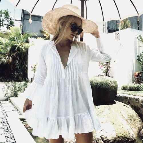 Loose Bikini Cover Up Dress Summer Beach Women White Beachwear Long Sleeves