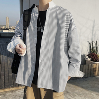 Classic Style 2019 Spring Personality Casual Stripe Long Sleeve Men Shirt Summer Schoolboy Stand Collar Patchwork Cuff Shirt