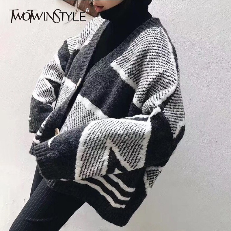 TWOTWINSTYLE Korean Women s Sweater V Neck Long Sleeve Geometric Knitting Cardigan Female Plus Thick 2019