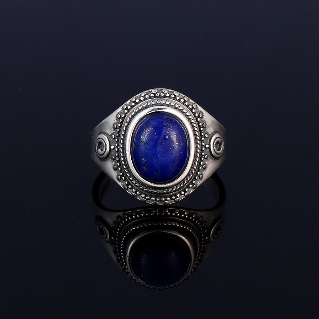 Original 925 sterling silver jewelry natural blue lapis lazuli ring oval 8X10MM engagement anniversary gift wholesale