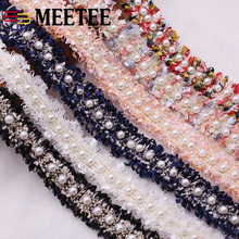 Meetee 4yards 2cm Pearl Webbing Lace Trim Ribbon Handmade Beaded Woven Belt  DIY Clothing Hair Decoration Accessories KY401