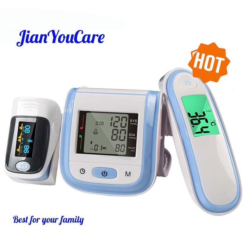 JianYouCare Fingertip Pulse Oximeter LCD Wrist Blood Pressure Monitor Baby Ear Infrared Thermometer Family Health Care