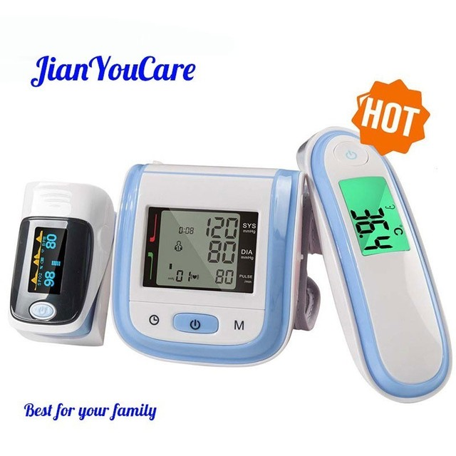 JianYouCare Fingertip Pulse Oximeter & LCD Wrist Blood Pressure Monitor & Baby Ear Infrared Thermometer Family Health Care Gift