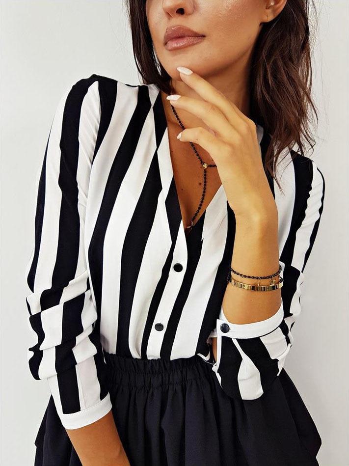 Summer Fashion Women V Neck Long Sleeve Stripes Career Shirt Loose Slim Plus Blouse Top Korean HOT sell