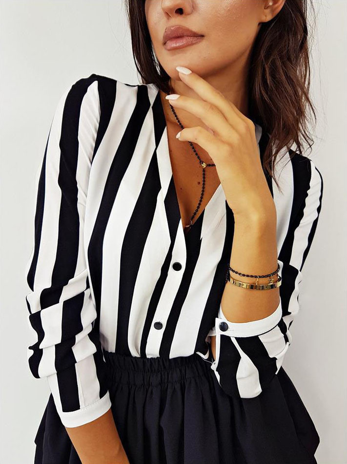 Summer Fashion Women V Neck Long Sleeve Stripes Career   Shirt   Loose Slim Plus   Blouse   Top Korean HOT sell