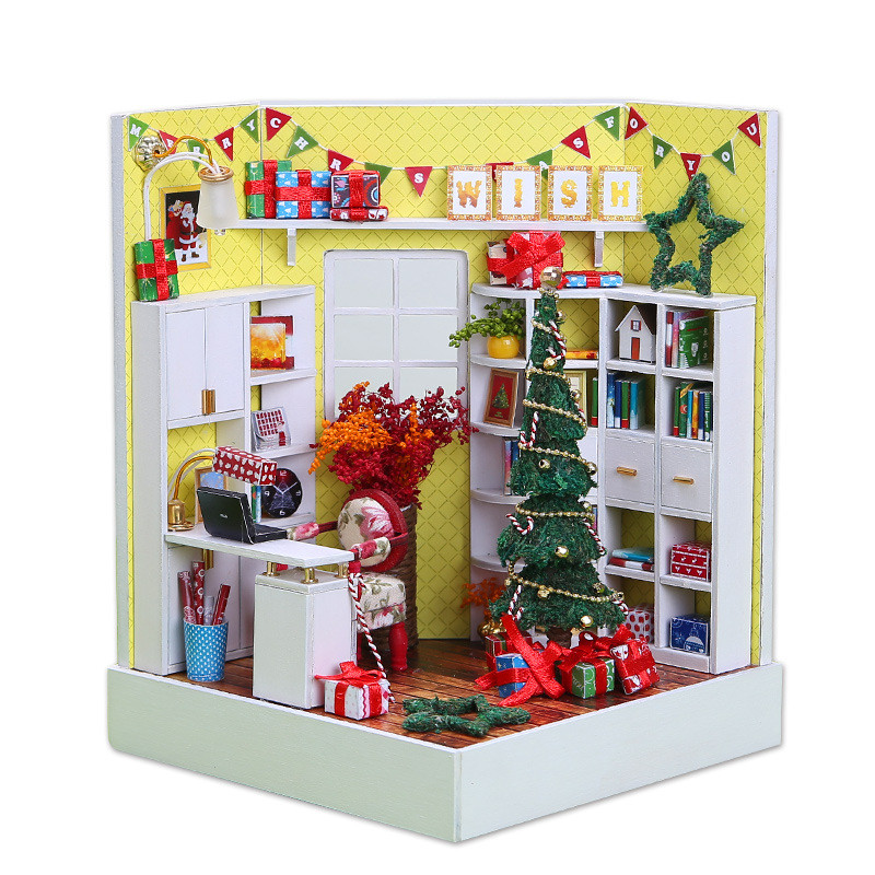 Toys & Hobbies Search For Flights Assemble Y-001 Merry Christmas Day Diy Dollhouse With Furniture Light Cover Gift Decoration Collection Friends Children Gift