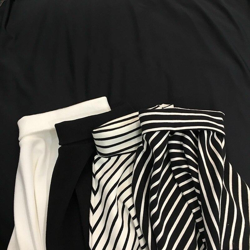 Vintage Women T-shirt Shirt Solid Gothic Harajuku Tops Stripped Turtleneck