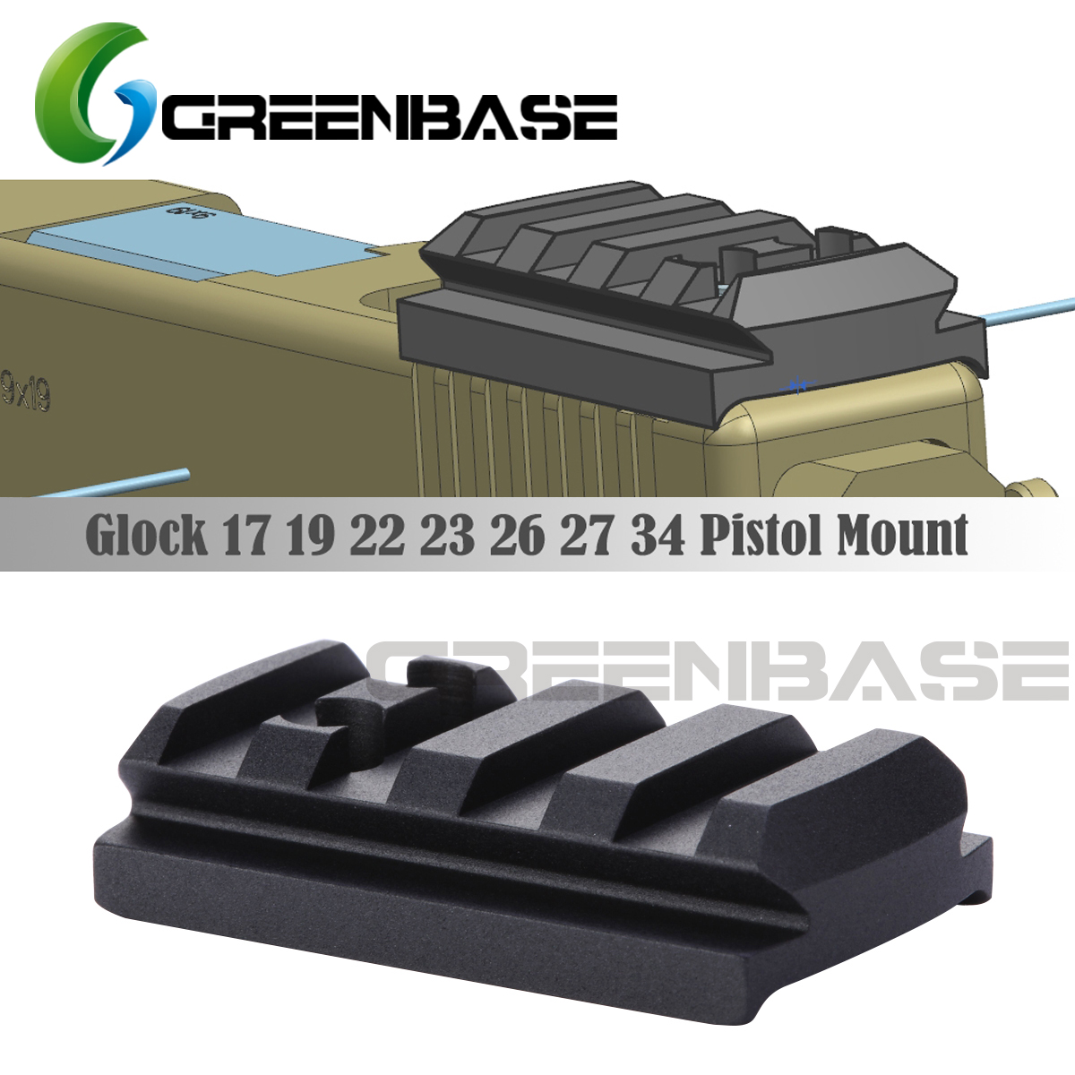 GREENBASE Glock Sight Mount Plate Glock 17 19 22 23 26 27 34 Rail Install For Pistol Red Dot Sight With 20mm Picatinny Rail