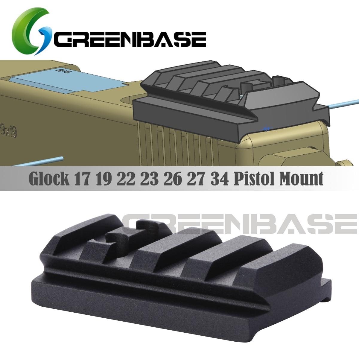 Greenbase glock sight placa de montagem glock 17 19 22 23 26 27 34 trilho instalar para pistola red dot sight com 20mm picatinny ferroviário