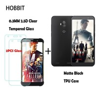 Matte Black Soft Silicone TPU Back Cover Case For AGM X3 0.3MM 2.5D 9H Clear Tempered Glass Screen Protector for Agm x3