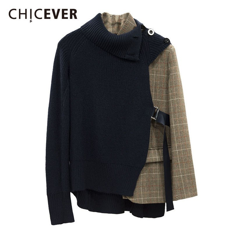 CHICEVER Patchwork Plaid Jackets For Women Stand Collar Long Sleeve Irregular Knitted Women's Jacket Female Fashion Clothes Tide-in Jackets from Women's Clothing    1