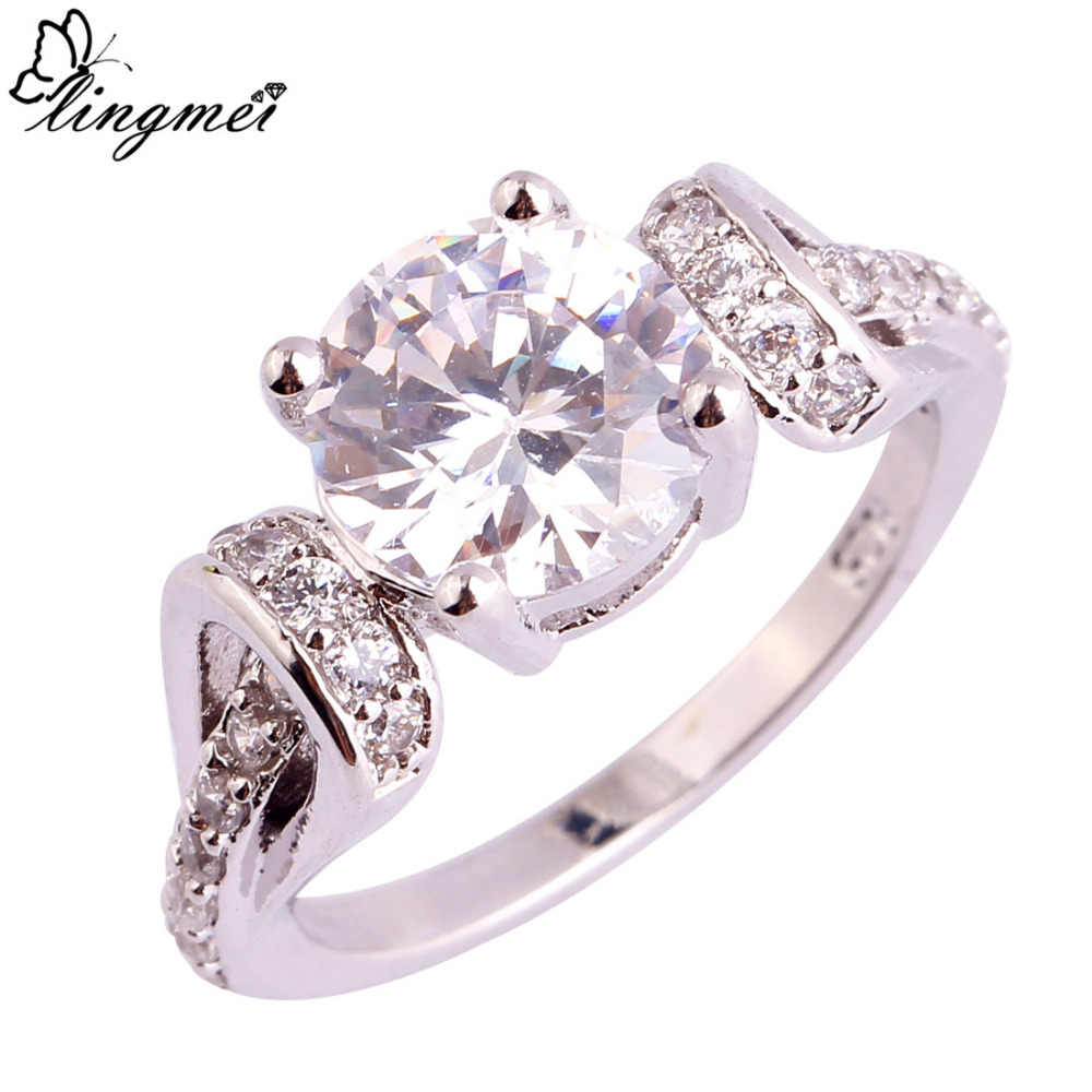 lingmei Wholesale Fashion Jewelry Dazzling Oval Cut White CZ Silver Color Ring Size 6 7 8 9 10 11 Wedding Ring for Men Women