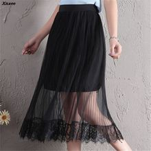 New Fashion Tulle Skirts Womens Black White Adult Skirt 2018 Summer Female Elastic High Waist Pleated Midi Xnxee