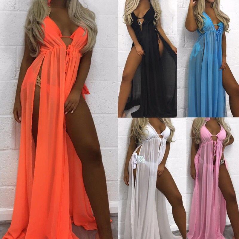 Women's Clothing Fashion Women Ladies Bathing Suit Sexy Bikini Swimwear Cover Up Beach Long Maxi Shirts