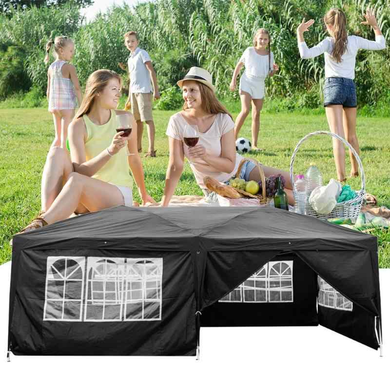 3 × 6 メートルオックスフォード生地折りたたみテント防水屋外キャンプ 6 面パビリオンキャノピー祭パーティー用品