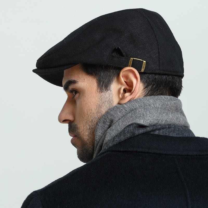 Pria Plus Ukuran Ivy Topi Kepala Besar Pria Musim Semi Musim Panas dan Musim Gugur Newsboy Cap Kelas Atas Linen Topi Baret M 55-59 Cm L 60-62 Cm