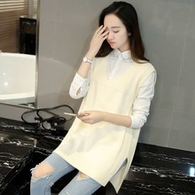 2018 New Arrival Autumn Female Cashmere V Neck Knitting Vest Korean Elegant Casual Sweater