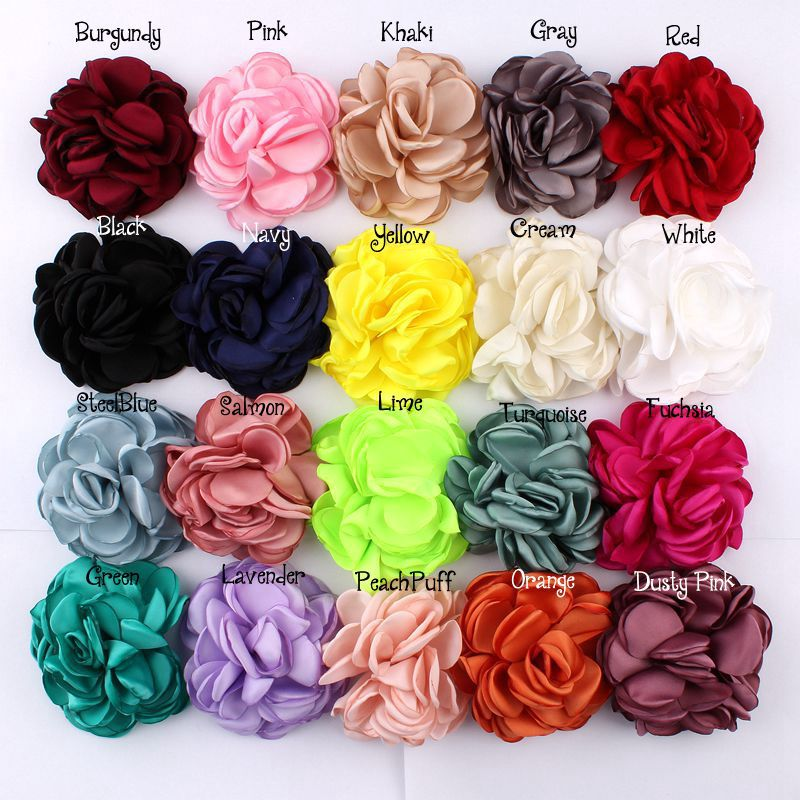 100pcs/lot 8CM 20 Colors Newborn Vintage Soft Artificial Fabric Flowers For Headbands Chic Hair Flowers For Children Accessories