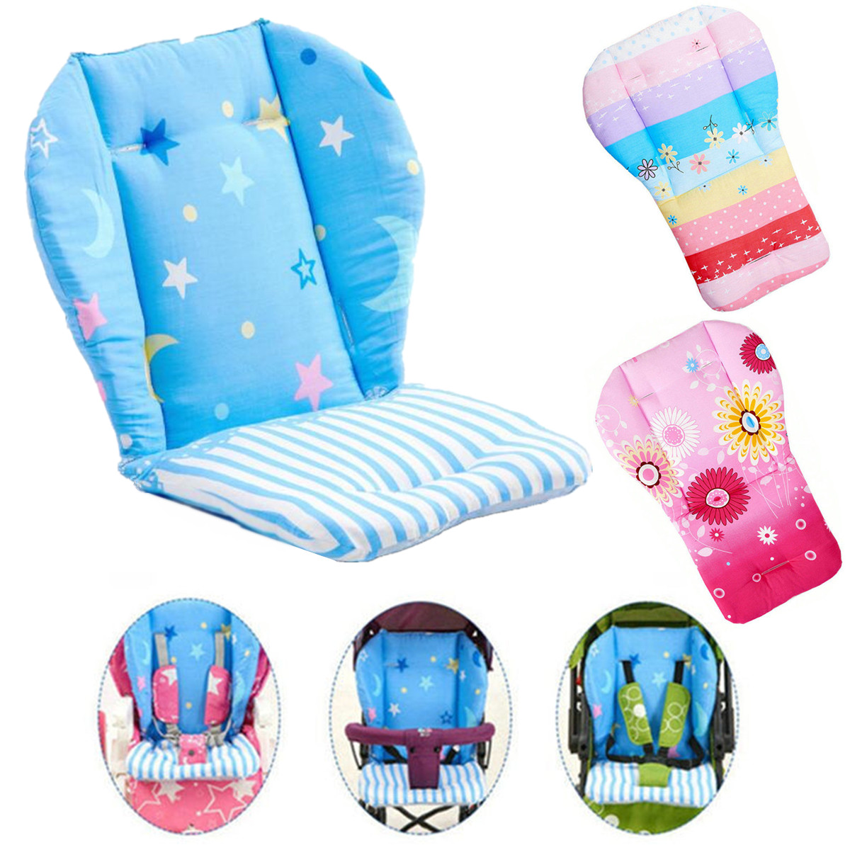 Baby High Chair Cushion Cover Kids Children  Booster Mats Pads Feeding Chair Cushion Stroller Seat Cushion Pure Cotton Fabrics(China)