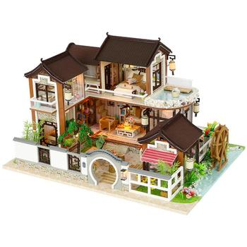 DIY Dollhouse Ancient Architecture Without Dust Cover Birthday Toy Cottage Holiday Birthday Gift For Kids