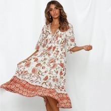 DeRuiLaDy 2019 Women Summer Boho Chic Long Dress Sexy V Neck Lace Up Floral Print Beach Dresses Female Causal Vestidos